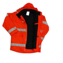 Fleece Hooded PU Raincoat/Reflective/Safety Clothing for Adult