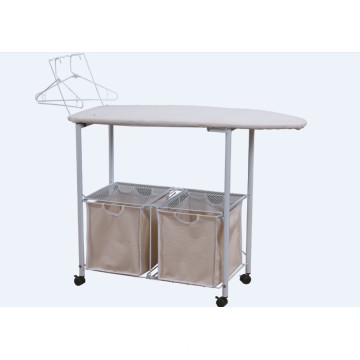 Laundry hamper with ironing board
