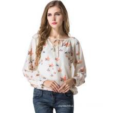 New arrival ladies chiffon blouses elegant design long sleeves printing women blouse