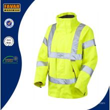 Hi-Vis reflektierende Sicherheit atmungsaktiv wasserdicht Jacke in gelb/Orange