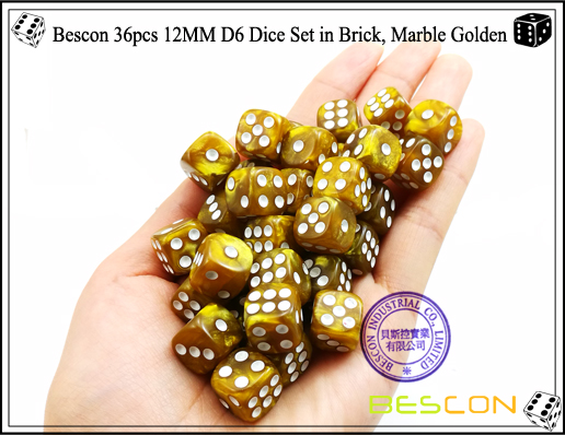 Bescon 36pcs 12MM D6 Dice Set in Brick, Marble Golden-5