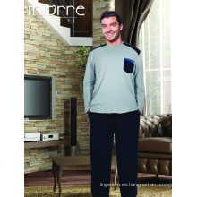 Miorre Hombres de manga larga de manga larga de algodón de gran tamaño pijama Set