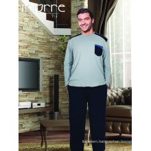 Miorre Wholesale Men's Long Sleeve Big Size Cotton Pajamas Set