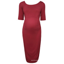 Kate Kasin Women Comfortable Half Sleeve Crew Neck Dark Red Cotton Maternity Summer Party Dress KK000502-1