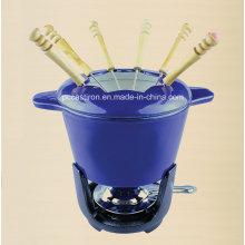 LFGB, CE, FDA, SGS Cast Iron Chocolate Fondue with 6 Forks