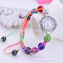 2014 high quality shambala beads strap wrist watch women