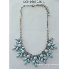 Flower Gem Necklace with Metal