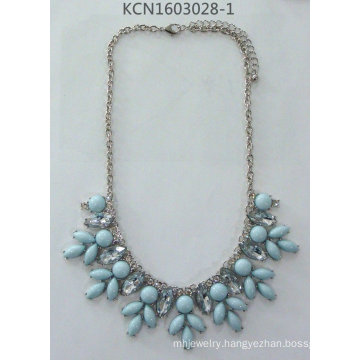 Flower Gem Necklace with Metal