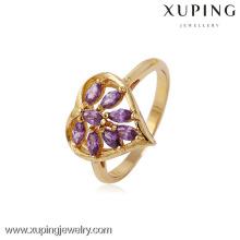 11433 Encantos al por mayor Xuping Fashion Woman 18K Gold -Plated Heart Flower Ring