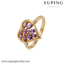11433 Wholesale Charms Xuping Fashion Woman 18K Gold -Plated Heart Flower Ring