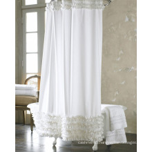 White Print Polyester Shower Curtains