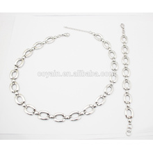 316L Stainless Steel Link Chain Bracelet and Necklace Jewelry Set