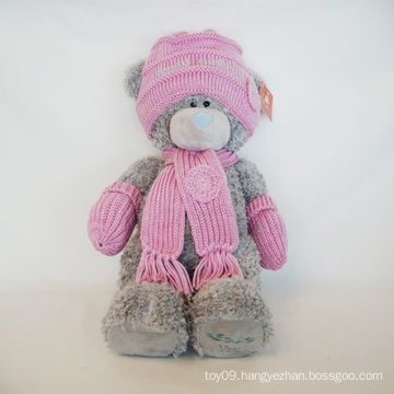 Plush Wool Hat Pink Bear
