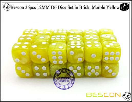 Bescon 36pcs 12MM D6 Dice Set in Brick, Marble Yellow-3