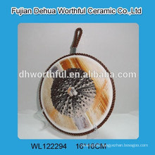 2016 High quality sea design ceramic pot holder with lifting rope
