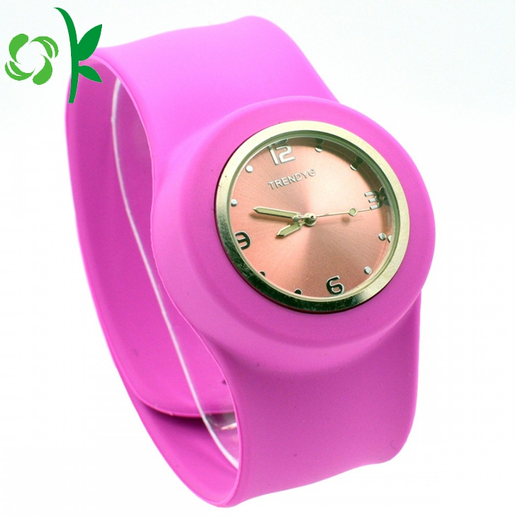 Pink Silicone Slap Band With Watch 5