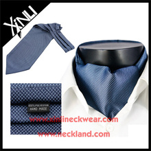 Moda para hombre Ascot azul geométrico Corbatas 100% microfibra Ascot Cravats