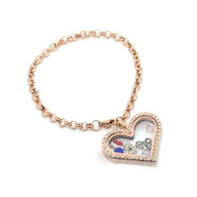 Hot new arrival rose gold stainless steel pearl shape chain charm bracelet