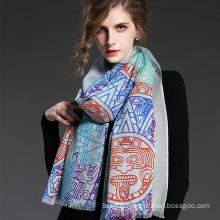 Women Wool Geometric Patterns Printed Blue Scarf