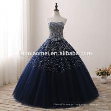 2017 Novo design azul cor de noiva vestido de lantejoulas e diamante decorado vestido de noiva azul atacado
