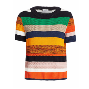 Neueste Design Stripe Crop Top Häkelpullover