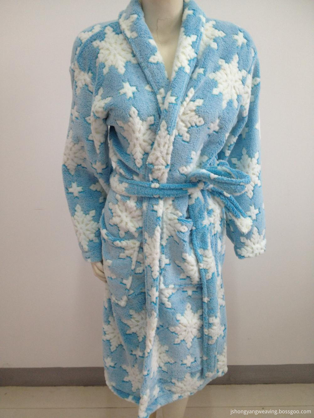 Printed Coral Fleece Bathrobe