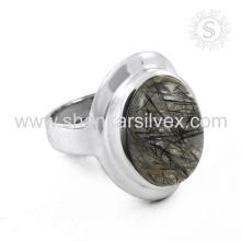 Espectacular rutilo negro anillo de plata de piedras preciosas al por mayor 925 joyas de plata esterlina joyas de plata artesanal de la India