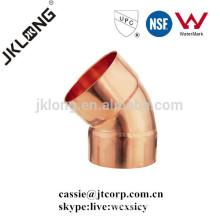 Ajuste de cobre codo de cobre de 45 grados