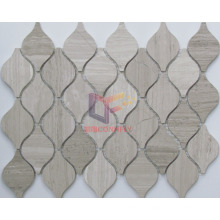 Water Jet Cutting Natural Wooden Pattern Marble Mosaic (CFS1087)