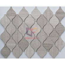 Water Jet Cutting Natural Wooden Pattern Marble Mosaic (CFS1087)