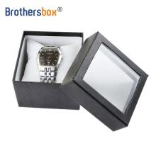 Custom logo matt piano black big paper box gift packaging single watch box