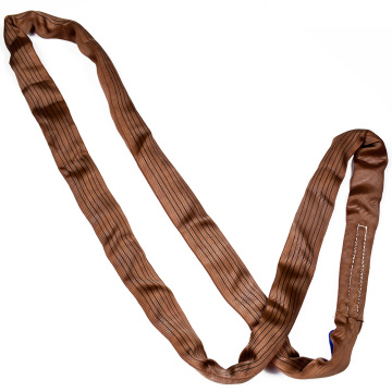 6 Ton 6M Or OEM Length 4 Ply Soft Lifting 6T Round Glass Sling Belt Brown Color Safety Factor 8:1 7:1