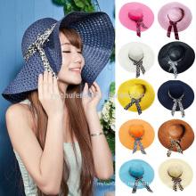Nuevas mujeres Beach Hat Señora Cap Wide Brim Floppy Fold Verano Sun Straw Hat
