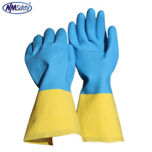 NMSAFETY Bio color Neoprene glove flocklined chemical industrial gloves