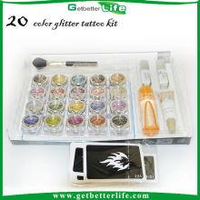 20 tatuajes del brillo del polvo brillo Tatuajes temporales por mayor de la fuente