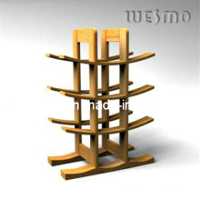 Estante de botellas de vino con bambú