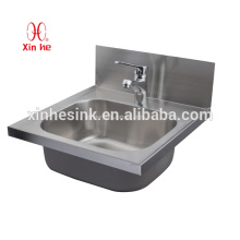 Stainless Steel Commercial Hand Sink with tap holes, Wall Mounted Stainless Steel Hand Sink for Public Use