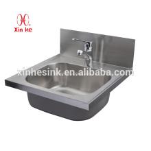 Стали коммерчески ручной раковина из нержавеющей с кран отверстия, настенный Нержавеющая сталь раковина для мытья рук для публичного использования