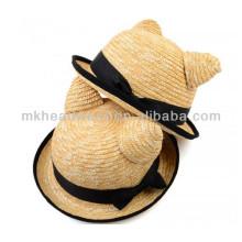 Sombrero de paja de señora Cute Adult Cat Ears Boater con banda