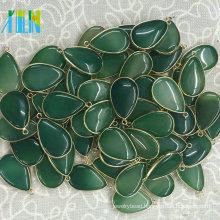 Green Agate Drop Pendant Bezel Charm Single Bail Nature Gemstone Cabochon Jewelry Findings