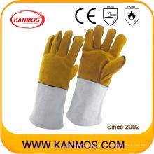 Cuero de vaca cuero dividido mano industrial de trabajo de soldadura guantes de trabajo (11118)