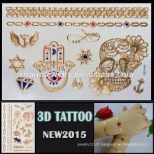OEM gros crâne fleur design tatouage faux corps tatouage mode 3d tatouage autocollant YH 019