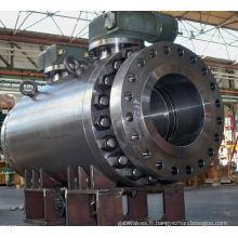 Chine Grande vanne à tournant sphérique boulonnée d'acier inoxydable de vitesse de vis sans fin