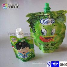 Levántese el jugo en forma de bolsa con el canalón