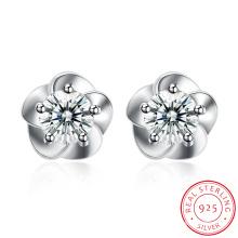 925 Sterling Silver Snow Flower Shape Ear Stud Beautiful Design Earring