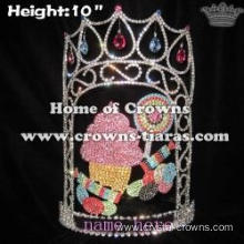 10in Height Crystal Candy Cane Pageant Crowns With Cupcake