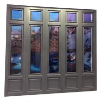 Roman style customized size powder coating laminated tempered glass fixed window used commercial