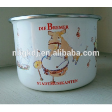 enamel serving bowl with pe lids/enamel high storage bowl with cute decals
