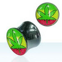 fashion leaf logo UV acrylic gauge ear plugs flesh tunnel,pot leaf piercing