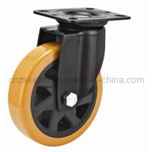 Mh4 Med-Heavy Duty Type de pivotement Double roulement à billes Black PU Wheel Roulette